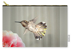 Carry-all Pouch featuring the photograph Camellia And Hummer by Joyce Dickens