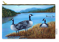 Carry-all Pouch featuring the painting Canada Geese - Lake Lure by Fran Brooks