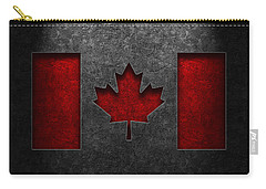 Carry-all Pouch featuring the digital art Canadian Flag Stone Texture by Brian Carson