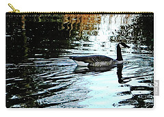 Carry-all Pouch featuring the photograph Canadian Goose At Burden  by Lizi Beard-Ward