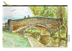 Carry-all Pouch featuring the painting Canal-bridal Path In Staffordshire  by Teresa White