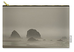 Carry-all Pouch featuring the photograph Cannon Beach In A Fog Oregon by Yulia Kazansky