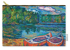 Canoes At Mountain Lake Sketch Carry-all Pouch