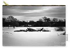 Canoes In The Snow - Monochrome Carry-all Pouch