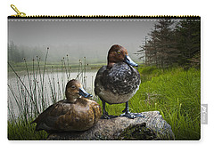 Canvasback Duck Pair By A Pond Carry-all Pouch