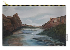 Carry-all Pouch featuring the painting Canyon De Chelly by Ellen Levinson