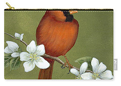 Carry-all Pouch featuring the painting Cardinal And Dogwood by Fran Brooks