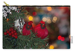 Carry-all Pouch featuring the photograph Cardinals At Christmas by Patricia Babbitt