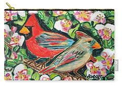 Cardinals In An Apple Tree Carry-all Pouch by Diane Pape