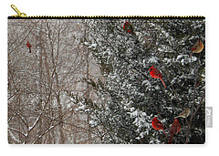 Cardinals In Winter 1 Square Carry-all Pouch