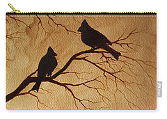 Carry-all Pouch featuring the painting Cardinals Silhouettes Coffee Painting by Georgeta  Blanaru