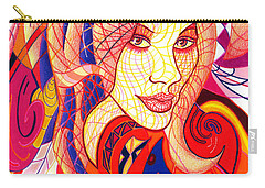 Carry-all Pouch featuring the drawing Carnival Girl by Danielle R T Haney
