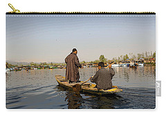 Cartoon - Kashmiri Men Plying A Wooden Boat In The Dal Lake In Srinagar Carry-all Pouch by Ashish Agarwal