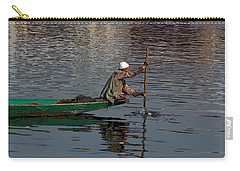 Cartoon - Man Plying A Wooden Boat On The Dal Lake Carry-all Pouch by Ashish Agarwal