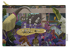 Carry-all Pouch featuring the painting Cartoon Dinosaur Museum by Martin Davey