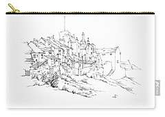 Carry-all Pouch featuring the drawing Castletown Coastal Houses by Paul Davenport