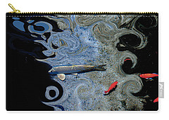 Cat And Koi Blue Carry-all Pouch