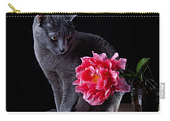 Cat And Tulip Carry-all Pouch by Nailia Schwarz