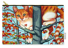 Orange Cat In Tree Autumn Fall Colors Carry-all Pouch by Rebecca Korpita