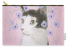 Cat With Purple Flowers Carry-all Pouch