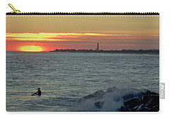 Catching A Wave At Sunset Carry-all Pouch by Ed Sweeney