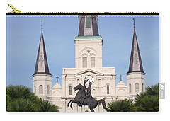 Carry-all Pouch featuring the photograph Cathedral In Jackson Square by Alys Caviness-Gober