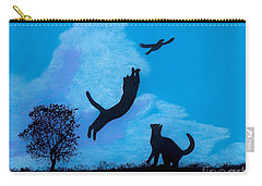 Carry-all Pouch featuring the drawing Cats -  Playing by D Hackett