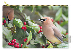 Cedar Waxwing In Holly Tree Carry-all Pouch