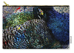 Carry-all Pouch featuring the digital art Celebration Of The Peacock #2 by Nola Lee Kelsey