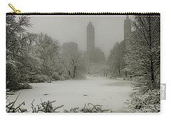 Carry-all Pouch featuring the photograph Central Park Snowstorm by Chris Lord