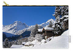 Chalets In A Snow White Valley Carry-all Pouch by IPics Photography
