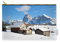 Chalets On The Alpe Di Siusi, Seiser Alm, In The Winter Snow Carry-all Pouch by IPics Photography