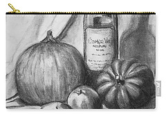 Carry-all Pouch featuring the drawing Charcoal Still Life Harvest by Dee Dee  Whittle