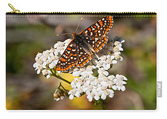 Carry-all Pouch featuring the photograph Checkerspot Butterfly On A Yarrow Blossom by Jeff Goulden