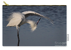 Checking For Leaks - Reddish Egret - White Form Carry-all Pouch