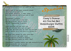 Cheeseburger In Paradise Jimmy Buffet Tribute Menu  Carry-all Pouch by Nola Lee Kelsey
