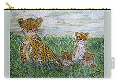 Cheetah And Babies Carry-all Pouch
