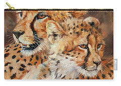 Cheetah And Cub Carry-all Pouch by David Stribbling