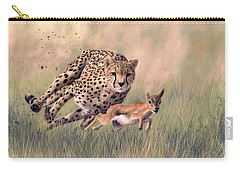 Cheetah And Gazelle Painting Carry-all Pouch by Rachel Stribbling