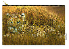 Cheetah - In The Wild Grass Carry-all Pouch by Carol Cavalaris