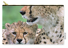 Cheetah Mother And Cub Carry-all Pouch by Yva Momatiuk John Eastcott