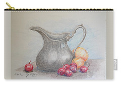 Carry-all Pouch featuring the drawing Cherries Still Life by Marilyn Zalatan