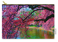 Carry-all Pouch featuring the photograph Cherry Blossom Walk Tidal Basin At 17th Street by Tom Jelen