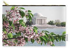 Carry-all Pouch featuring the photograph Cherry Blossoms And The Jefferson Memorial 2 by Mitchell R Grosky
