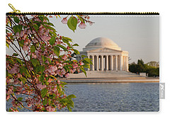 Carry-all Pouch featuring the photograph Cherry Blossoms And The Jefferson Memorial 3 by Mitchell R Grosky