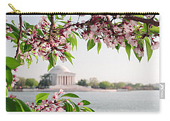 Carry-all Pouch featuring the photograph Cherry Blossoms And The Jefferson Memorial Panorama by Mitchell R Grosky