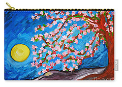 Carry-all Pouch featuring the painting Cherry Tree In Blossom  by Ramona Matei