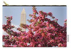 Carry-all Pouch featuring the photograph Cherry Trees And Washington Monument 5 by Mitchell R Grosky