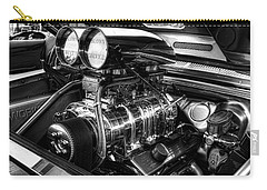 Chevy Supercharger Motor Black And White Carry-all Pouch