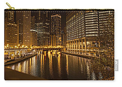 Chicago At Night Carry-all Pouch by Daniel Sheldon